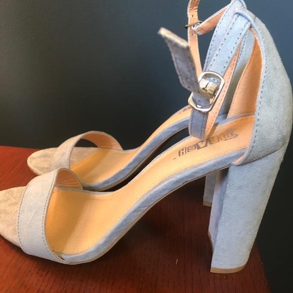 New Womens Thick Heel Sandal Light Blue